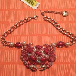 Betsey Johnson Pink Crab Necklace